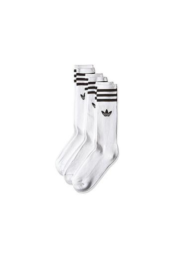 adidas Solid Crew Calcetines, Hombre, Blanco/Negro