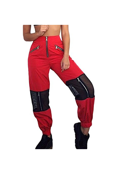 Sevozimda La Mujer Casual Pantalones Cargo De Malla con Cremallera Longitud Completa