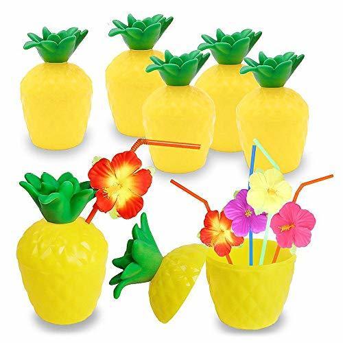 Hamkaw 12 Vasos de plástico Hawaiano Luau de 300 ml para Fiestas