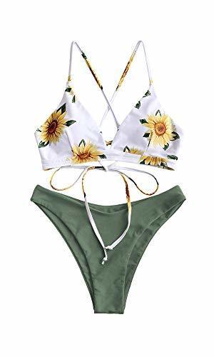 ZAFUL Conjunto de Bikini con Relleno Push Up Triangular Busto Ajustable con