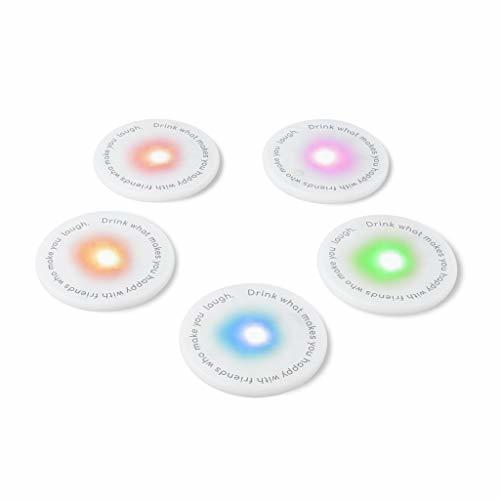 Balvi Posavasos LED UFOs Set de 5 Piezas Ideal para Fiestas Pilas