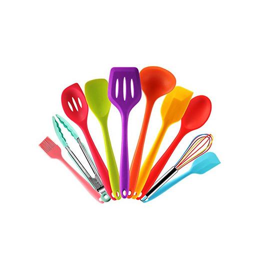 Set utensilios de cocina silicona de colores con Espátula