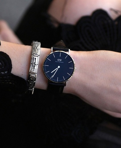 Daniel Wellington DW00100128 - Reloje acero inoxidable con correa de piel, Unisex,