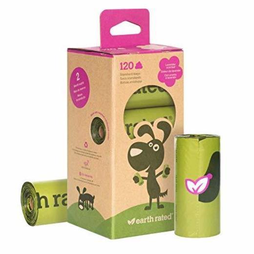 Rollos de bolsas biodegradables con aroma a lavanda Earth Rated.