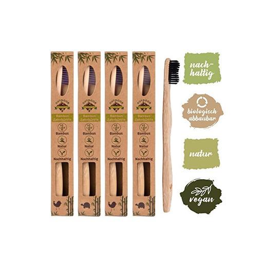 Set de 4 cepillos de dientes madera de Bambú