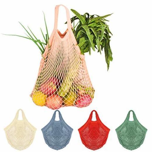 5 Bolsas de Malla Reutilizables Bolsa Rejilla para La Compra de Playa