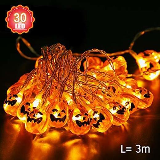 Norbase - Guirnalda de luces de calabaza para Halloween