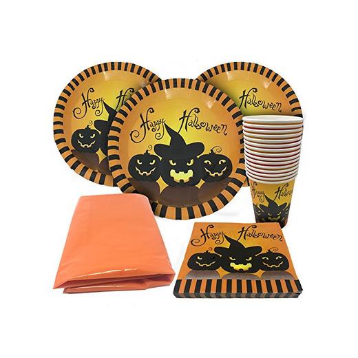 61piezas Halloween Fiesta Vajilla-adecuado para 15invitados-Party Set Incluye gruselige vasos