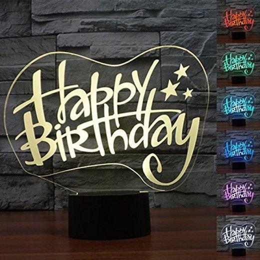 3D Illusion Feliz cumpleaños Lámpara luces de la noche ajustable 7 colores
