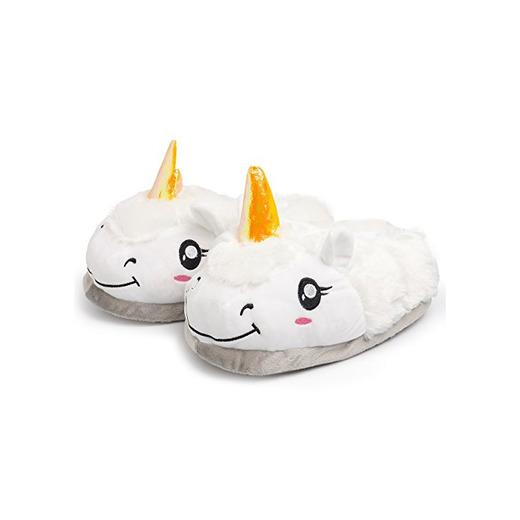Katara- Zapatillas de Estar por Casa Unicornio Mujer Invierno, Color blanco, cerradas,