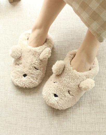 Pantuflas Mujer pantufla cálida casa zapatillas abiertas con Mignon oso zapatos algodón