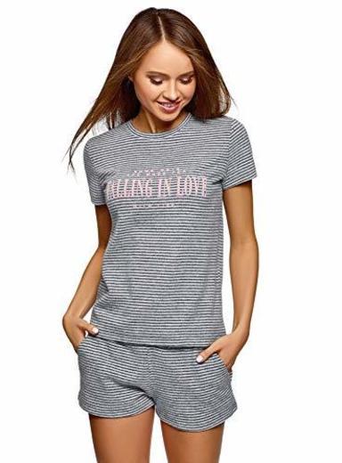 oodji Ultra Mujer Camiseta Recta de Estar por Casa con Inscripción de