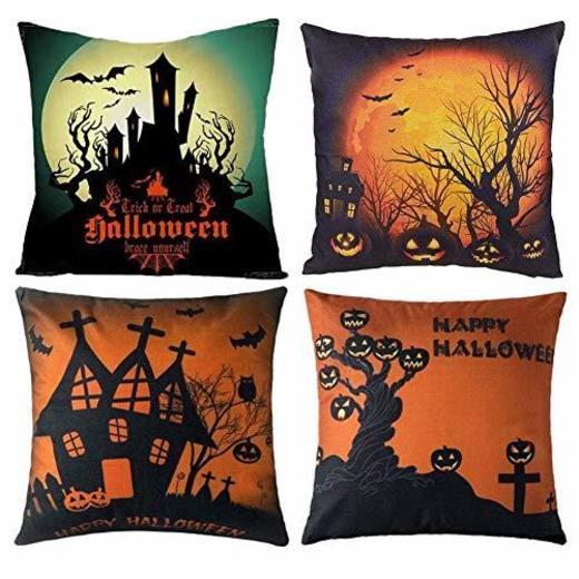 Gspirit 4 Pack Halloween Calabaza Algodón Lino Throw Pillow Case Funda de