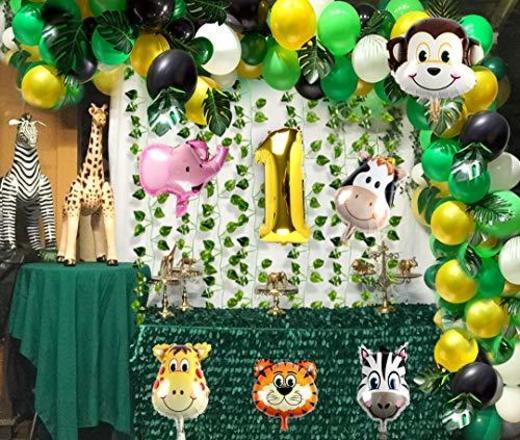 vamei 149PCS Selva Fiesta de cumpleaños Decoracion Niño-Feliz cumpleaños Feliz con Hojas