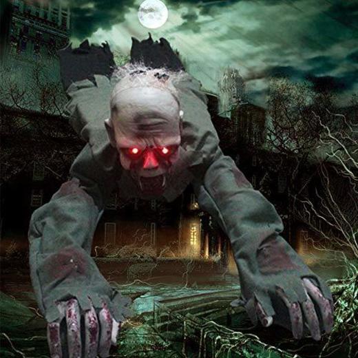 SurfMall Halloween Crawling Zombie Control de Sonido con Pilas Fantasma para Accesorios
