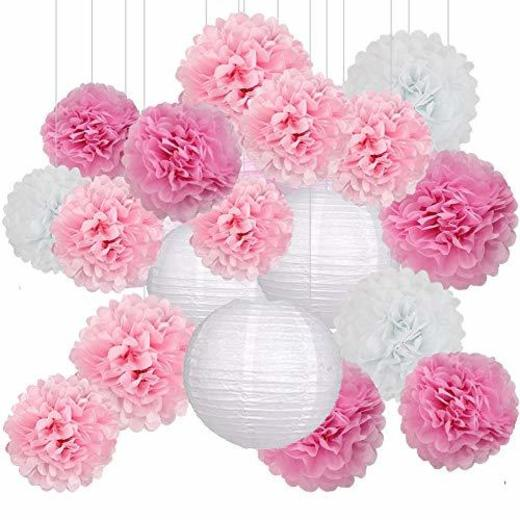 Decoración de Fiesta Pompom Flores,Abanicos de Papel Bola,Kit de Fiesta de Pompones,Papel