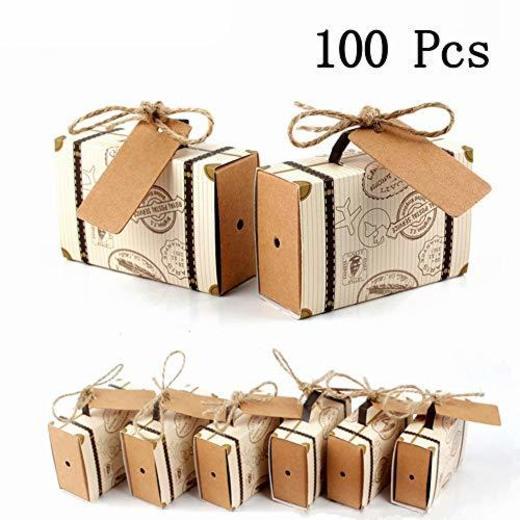CNNIK 100 Piezas Mini maleta Caja Caja Favor Caramelo Caja Vintage Papel