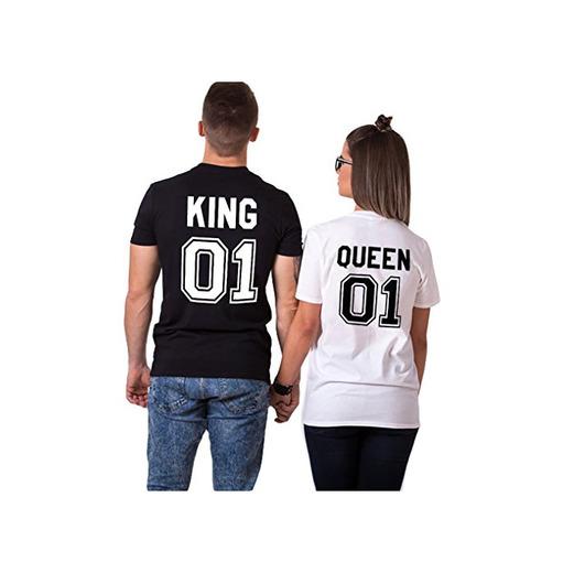 Parejas Camiseta King Queen T-Shirt 100% Algodón Shirts Impresión 01 2 Piezas